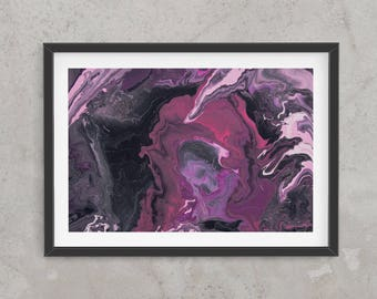 Abstract art print, glicee quality, limited edition, contemporary, Pink, purple and black, space