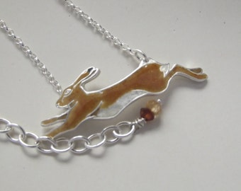 Hare running enamel necklace
