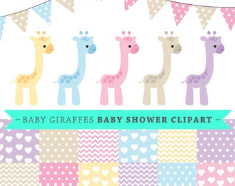Premium baby shower vector clipart - Baby giraffes - baby shower - clip art and digital paper set - baby giraffe clipart