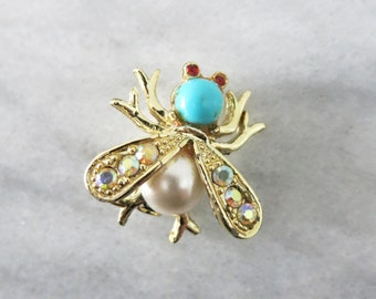 Vintage Fly Brooch, Lapel Pins for Women, Animal Jewelry Pins, Nature Lover Gift, Botanical Jewelry, Boho Jewelry, Insect Jewelry Women