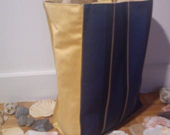 Large blue and yellow shoulder bag