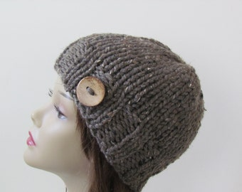 Knit Hat, Winter Hat, Chunky Beanie Hat, Womens Hat, Teens Hat  - Barley with Coconut Shell Button - Ready to Ship - Gift for Her