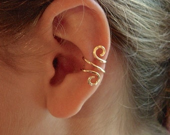 14K Gold Ear Cuff Single, Rose Gold Filled Ear Cuff Or Sterling Silver Ear Cuff, Your Choice Hand Hammered Single Piece