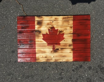 Rustic Handmade Wood Canadian Flag