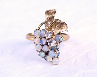 Vintage Rings, Opal Ring, Cluster Ring, Opal Jewelry, Fine Antique Jewelry, Gold Rings For Women, 14k Gold Ring, Grape Ring, Antique Ring