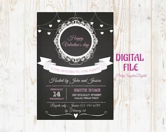 Valentine Day Party Invitation, Chalkboard Valentine Day, Valentines Party Invitation Printable,Vintage Invitation Printable,Digital Invites