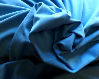Jersey Knit Fabric Organic Cotton, Wool, Lycra Cornflower Blue, 70 inches Wide