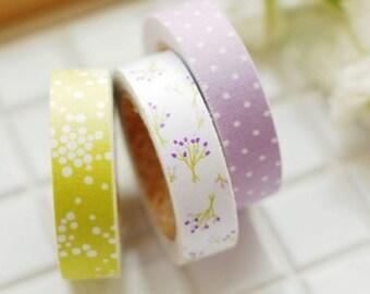 Decorative Adhesive Fabric Masking  Tape- Bouquet (3 Set)