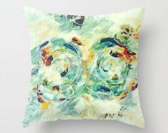 Watercolor Pillow, Pale Green, Pillow Cover, Pastel Yellow, Throw Pillow Cover, Pastel Pillow, Couch Pillow, Accent Pillow, Green Pillow