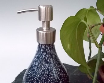 Hand Blown Art Glass Granite-esque Vanity Soap / Lotion  Dispenser by Rebecca Zhukov