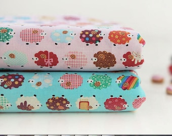 Cotton Fabric Colorful Sheep - Pink or Blue - per Yard 34703