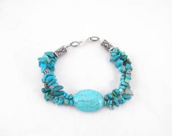 Bracelet,  Turquoise jewelry  large nugget with turqoise chips Bali silver, southwestern style blue and silver statement jewelry