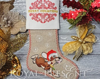 Machine Embroidery Designs Christmas sock with Dog