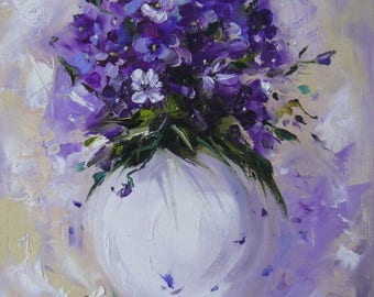 Abstract floral painting Original oil painting of flowers on canvas Contemporary still life artwork White and Lilac painting Viola wall art