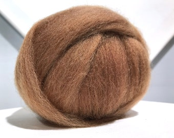 Nutmeg Brown wool roving, Felting Spinning Fiber, light brown, dark tan roving, gingerbread brown, light red brown