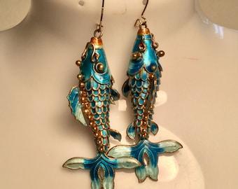 Cloisonné Koi Fish Articulated Pierced Earrings