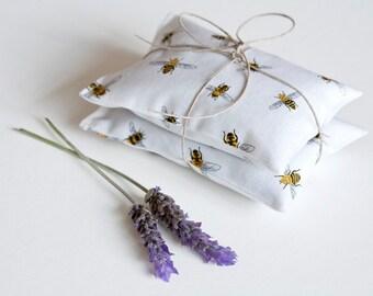 Bees Lavender sachet set  - Herb sachet cotton - Drawer Aroma sachet  - Favor - Organic Lavender bag - Gift sachet