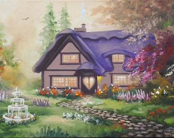 Cottage painting by RUSTY RUST 24x36 oils on canvas / M-379
