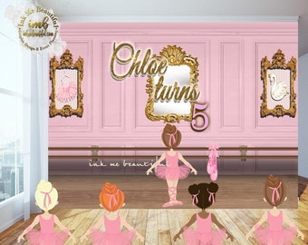PRINTABLE Tu Tu Cute Backdrop, Ballerina Themed Candy Table Backdrop, Photo Backdrop, Step and Repeat, Pink Carnival