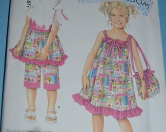 Simplicity 2433 Daisy Kingdom Child's Dress Top Capri Pants and Bag Sewing Pattern - UNCUT - Sizes 3 4 5 6 7 8