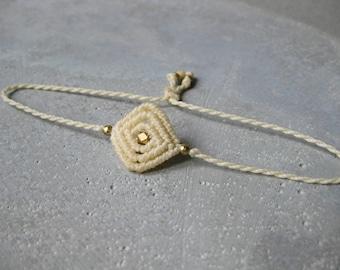 Dainty String Bracelet Braided w/ Brass Beads . Minimalist Small Modern Macrame Jewelry . Fiber Jewellery . Design by .. raïz ..