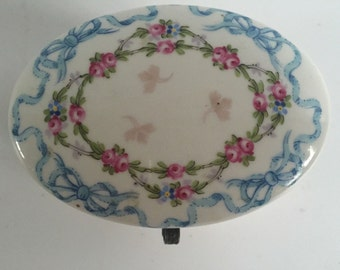Beautiful Large Hand Painted Oval Porcelain Trinket Box