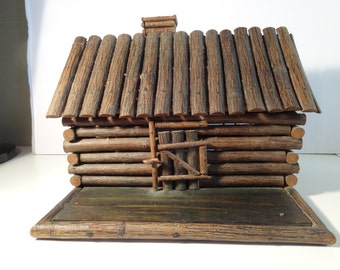 Rustic Log Cabin, antique, hand made one of kind, doll house