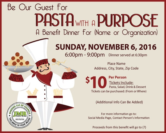 Italian Dinner Fundraiser Event Flyer Benefit Dinner Event