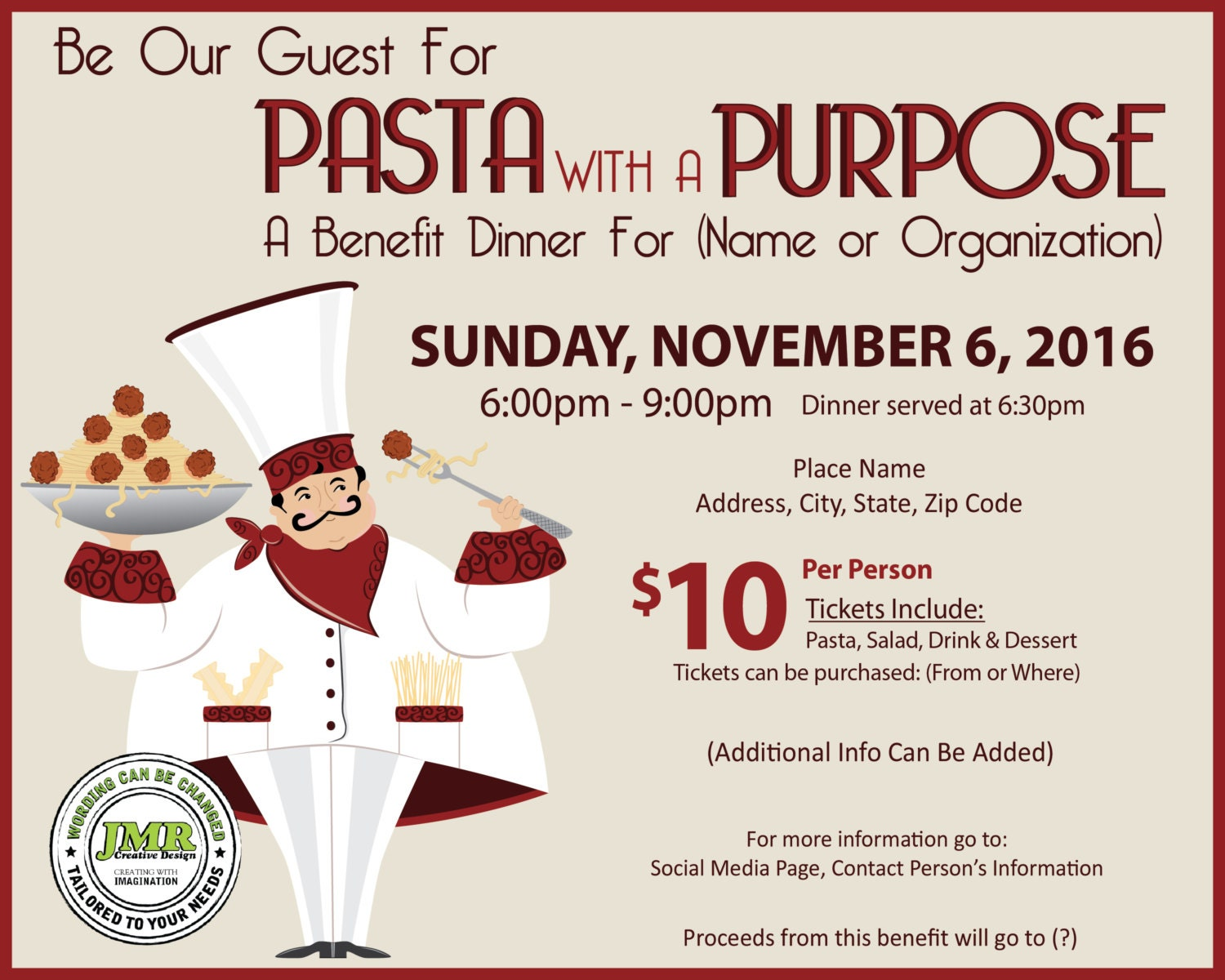 italian dinner fundraiser flyer benefit dinner flyer pasta