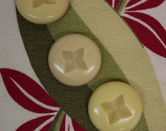 "3 Big Chunky Celluloid Coat Buttons 1 11/16"" Yellow, Carved"