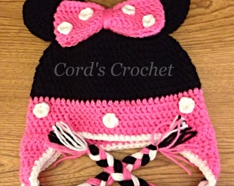 Pink Mouse Crochet Hat