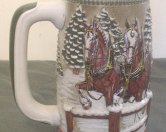 Vintage CS62 1984 Holiday Stein Team & Wagon with Covered Bridge on Snowy Winter's Eve Budweiser Clydesdales Yellow Cases Ceramarte Brazil