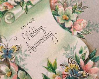 Vintage Wedding Anniversary Card Glittered Pink NOS Midcentury 1950s