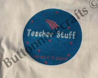 Teacher Thank you Gifts, Shopping Bag Teacher Stuff (And Wine at the Weekends) Canvas Bag (38cmx40cm)