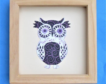 owl picture for a box frame / cute owl wall art / owl art / ideal gift / a floral owl picture handmade using scrapbook paper