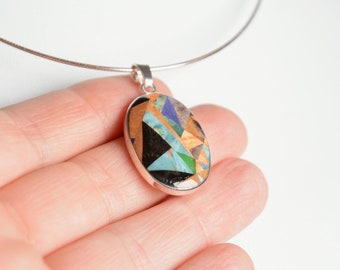 Oval wooden pendant, black oak wood and multicolor wood necklace, sterling silver mosaic jewelry, 5th anniversary gift for her in gift box