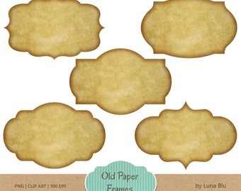 "Old Paper Digital Frames: ""Old Paper Labels"" old paper frames, digital labels, scrapbooking label clipart, tags, craft supplies"