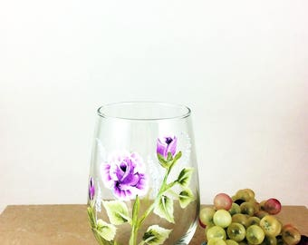 Flower wine glass, stemless wine glass, Flower home decor, Best wine gift, Gift idea for mom, housewarming gifts, Wine lover gift