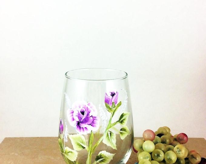 Flower wine glass, stemless wine glass, Flower home decor, Best wine gift, Gift idea for mom, housewarming gifts, Wine lover gift