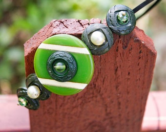 Green Vintage Button Headband - Repurposed Vintage Components
