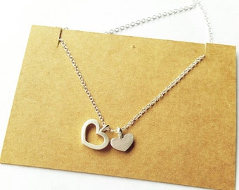 Simple Unbalance Heart shape Pendant, flat silver necklace, lovely gift for girls and birdesmaid, Handmade by Gwen Park Jewelry Designs