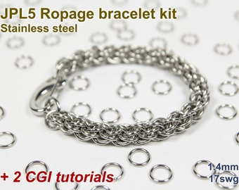 JPL5 Ropage Bracelet Kit, Chainmaille Kit, Stainless Steel, Chainmail Kit, Jump Rings, JPL5 Ropage Tutorial, Chainmaille Tutorial