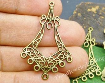 10 Antique Bronze Earrings Connectors - Chandeliers Components- Tibetan Bronze Findings -EF020