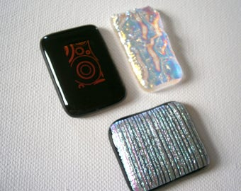 Dichroic Fused Glass Cabochons, Your Choice Dichroic Glass Cabs, Willow Glass