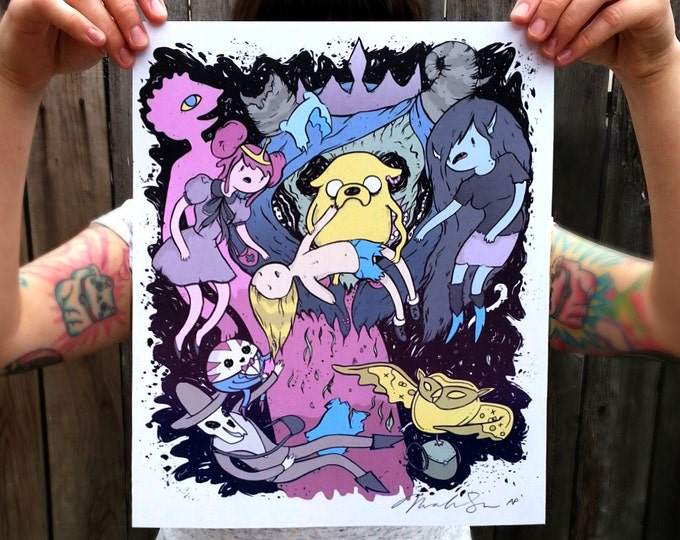 LIMITED EDITION Adventure Time inspired 11x14 inch poster print, drawing/painting. Finn, Jake, Marceline, Cosmic Owl, Death