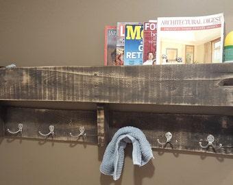 Bathroom reclaimed towel and storage rack