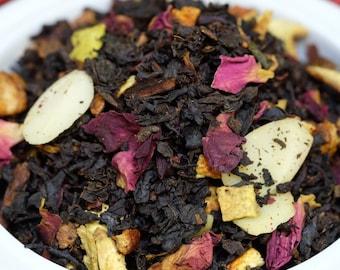 Black Tea: Noel Christmas Tea, Holiday Tea,  Loose Black Tea Blend Fruit Almonds Nuts, Herbs, Cinnamon and Orange