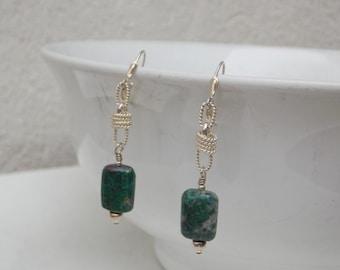 Greeen Chrysocolla Gemstone Sterling Silver Drop Earrings