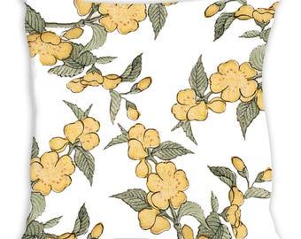 "Yellow Flowers on White Throw Pillow ""Belle"""