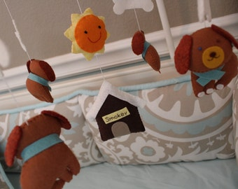 "Baby mobile, puppy mobile, animal mobile, felt mobile, crib mobile ""Come on, Smokey"""